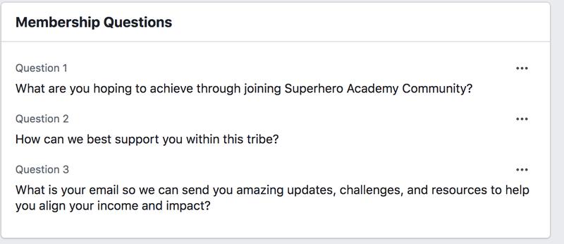 screenshot showing group membership questions
