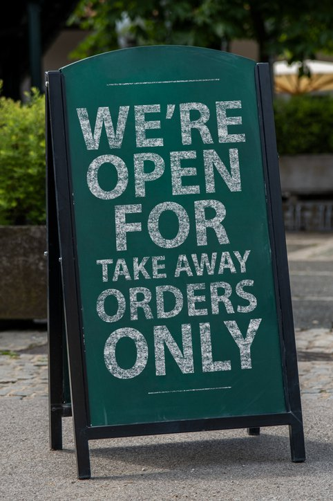 Chalkboard on the street for Take away orders