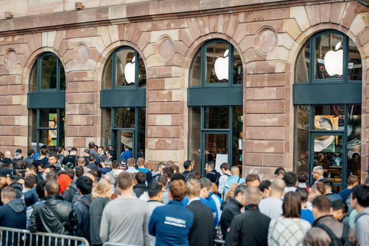 Crowd outside Apple store