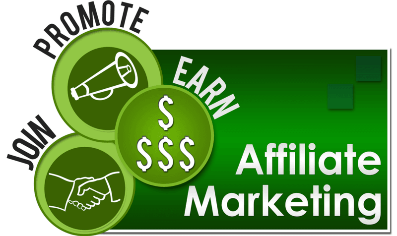 Affiliate marketing on green background - join, promote , earn