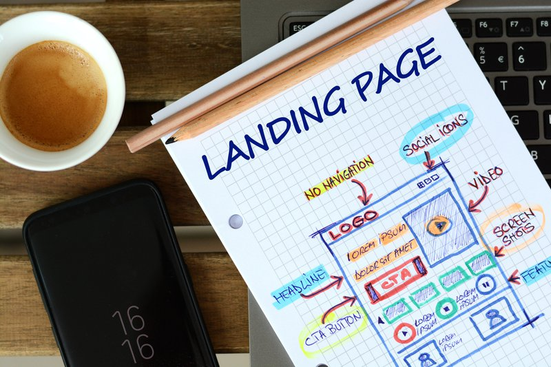 Website landing page development – sketch on math book