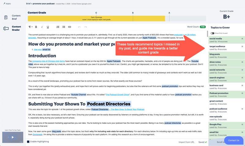 Use Topics Content Grader Recommendations