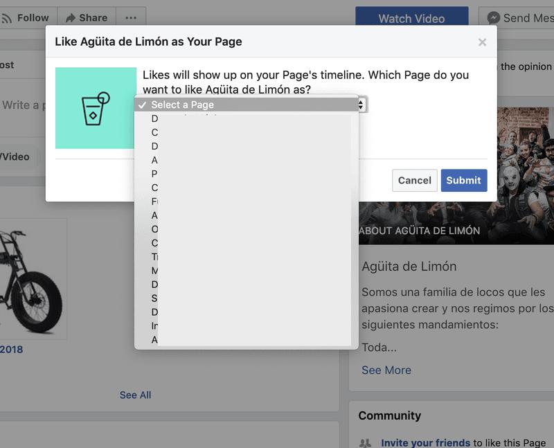 Selecciona de las herramientas de Facebook con que página darle like
