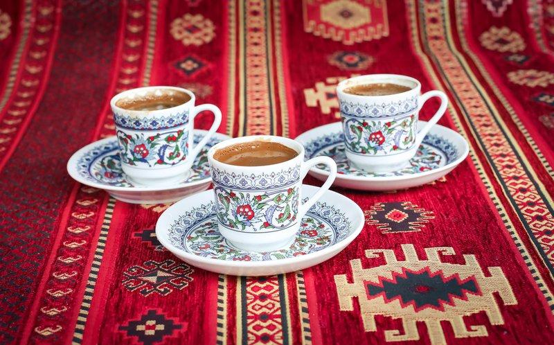 Turkish coffee in Turkish coffee cups