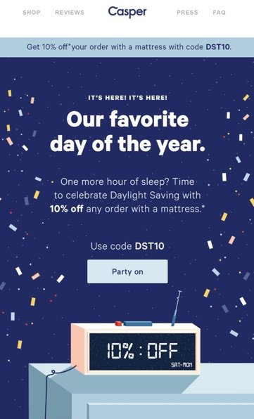 Daylight savings time promotion from Casper