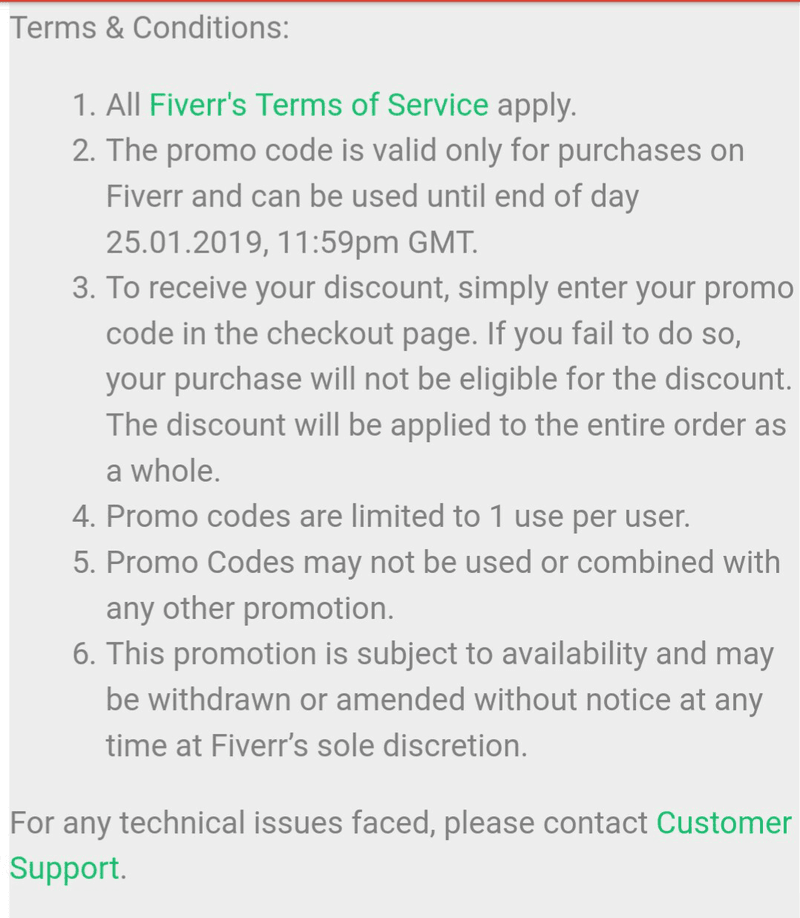 Fiverr's terms are a good pitch