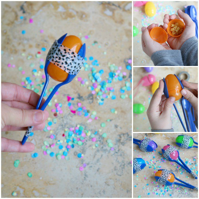 DIY Maracas with Kinder Eggs shells and plastic spoons for kids