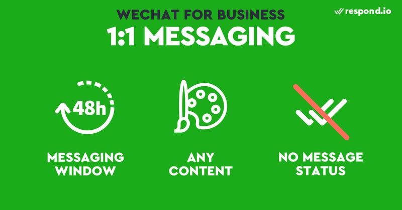 Esta es una imagen que resume las características de la mensajería 1 a 1 en la Cuenta Oficial. Cuando se trata de mensajería 1:1, las dos cosas que hay que buscar son la ventana de mensajería y los recibos de envío/lectura. Las Cuentas Oficiales son menos óptimas que otras aplicaciones de mensajería ya que tienen una ventana de mensajería y no proporcionan recibos de envío/lectura. Las ventanas de mensajería son populares para las cuentas comerciales de las aplicaciones de mensajería. Bloquean a las empresas para que no respondan un periodo de tiempo después de que los usuarios hayan enviado un mensaje para evitar el spam. Las cuentas oficiales tienen una ventana de mensajería de 48 horas.  El estado del mensaje no se proporciona ni en la plataforma de las Cuentas Oficiales ni en la API. Algunas cuentas comerciales de aplicaciones de mensajería marcarán los mensajes enviados por los clientes como leídos automáticamente. Los mensajes enviados a su Cuenta Oficial no se marcarán como entregados o vistos.