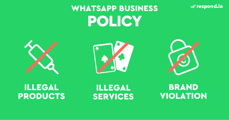 This is a picture of WhatsApp Business Policy. WhatsApp prohibits content relating to illegal products, illegal services and brand violation.