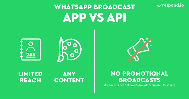 The WhatsApp Business App only allows up to 256 contacts per broadcast list, but you can send any type of content. The WhatsApp Business API only allows broadcasting using Template Messages and promotional messages are not allowed. These are WhatsApp Broadcast rules.