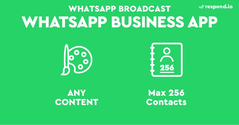 WhatsApp Business App is for small businesses. It allows up to 256 contacts per broadcast list and you can send any form of content including promotional messages.