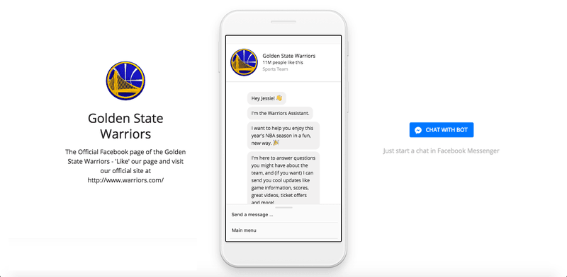 The page which allows you to connect with the Golden State Warriors Bot.