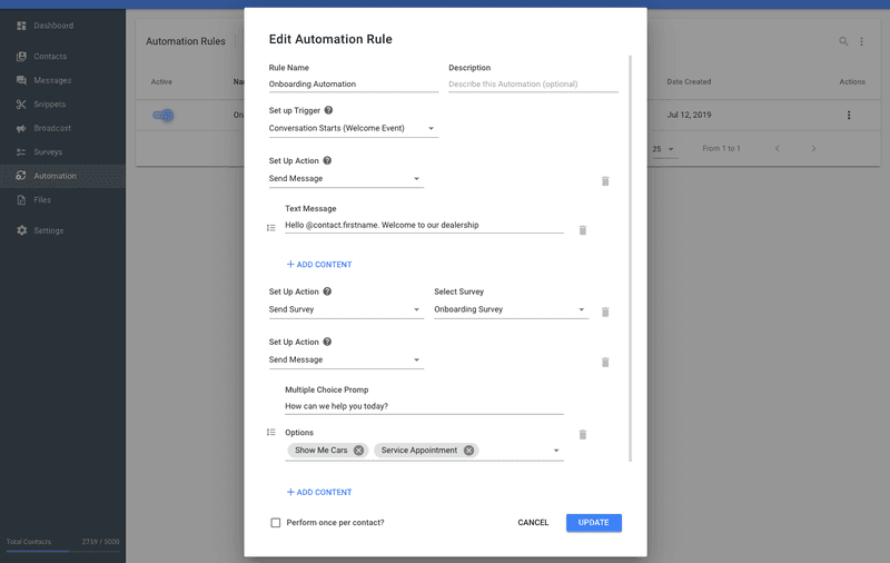 Sometimes collecting information in Dialogflow especially when onboarding contacts can be a pain, sometimes it is easier to make a Rocketbots survey then trigger it for all new contacts with an automation rule