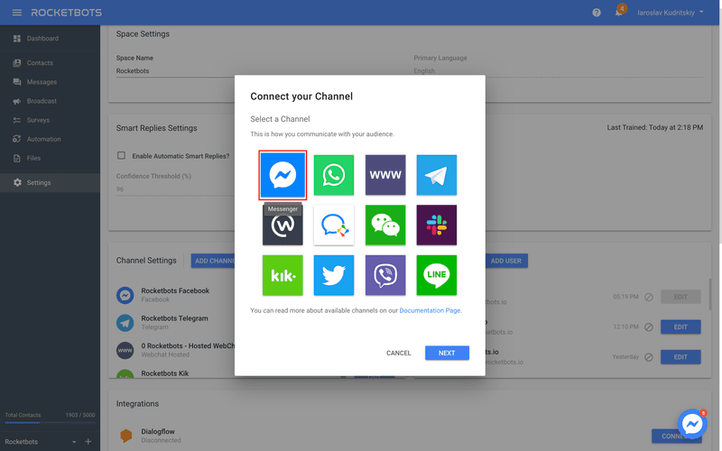 Select Facebook Messenger To Add A Facebook Customer Chat Plugin To Your Website Using GTM