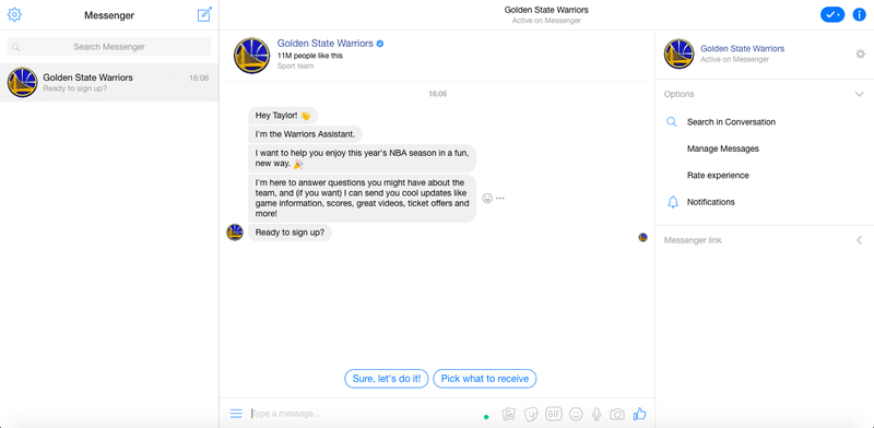 Getting Started With The Golden State Warriors Facebook Messenger Campaign