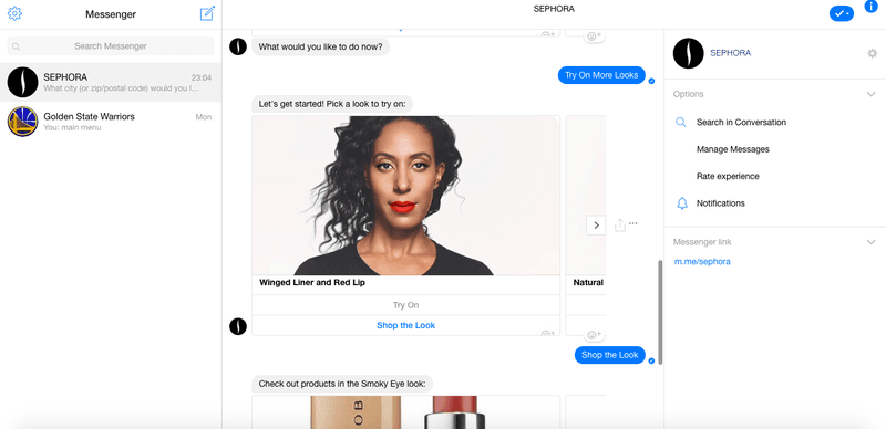Picking a Look to try on with Sephora Assistant