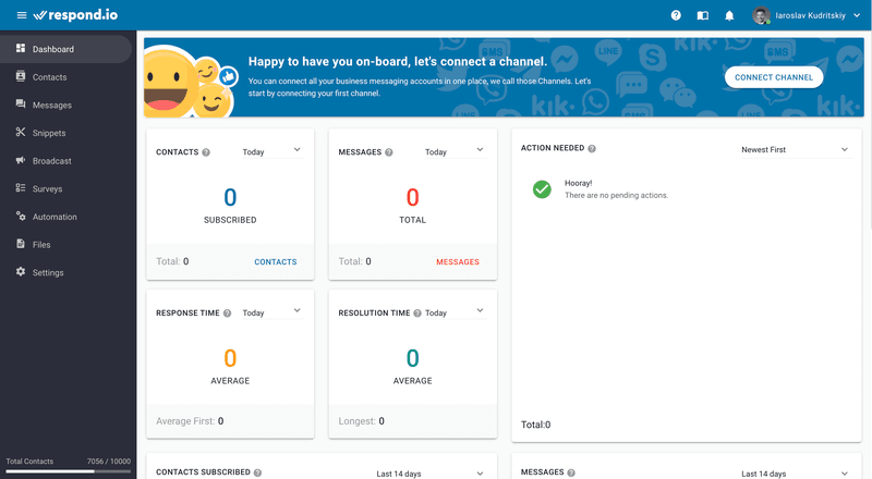 Start by creating a channel on the respond.io dashboard