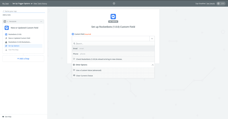 After creating the Dialogflow Zapier integration with Rocketbots, you'll be asked if you want to pass data from additional fields.