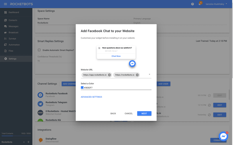 Whitelist Domains & Select A Color To Add Facebook Customer Chat Plugin To Your Website With Facebook Customer Chat Plugin