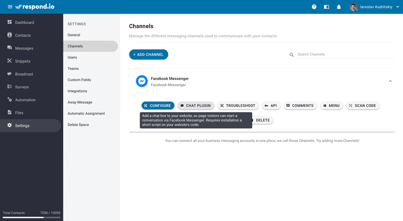Start creating the Facebook Customer Chat plugin by pressing Chat Plugin on the Respond.io Channel Page.