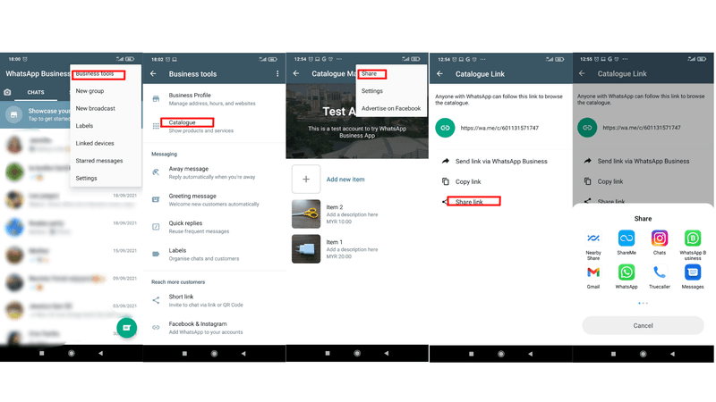 How to share a WhatsApp Shopping Catalog link on Android