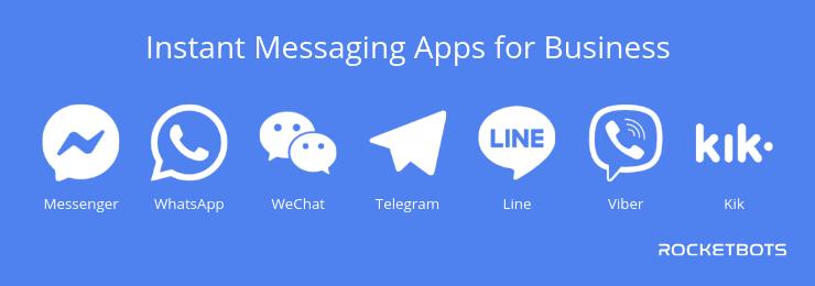 Instant Messaging for Business, Instant Messenger for Business, Facebook Messenger, WhatsApp, WeChat, Telegram, Line, Viber, Kik