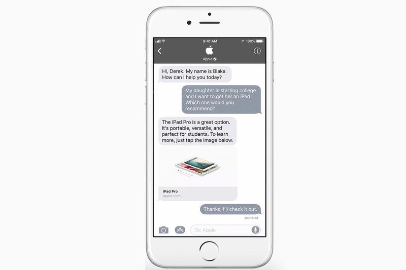 Apple Business Chat, known in shorthand as ABC, launched in 2018 as a part of Apple's iOS 11.3 release. Apple Business Chat provides customers with a free, convenient way to communicate with participating businesses via the Messages app in iOS, macOS, watchOS, and iPadOS. A user can start a conversation with a participating business through Apple Maps, Safari, Siri, and Spotlight Search.  A business can also refer customers to contact them in Messages via their respective website, app or email. Business Chat messages have a grey background to distinguish them from iMessages, which are blue, and standard SMS messages which are green. Companies can offer customer support, share rich links, manage appointment bookings, and process Apple Pay payments, all within an Apple Business Chat conversation.