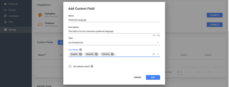 Create a Custom Field to Record the Data to get started with Chat Automation.