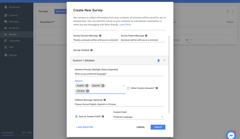 Create A Survey To Collect The Data to get started with chat automation