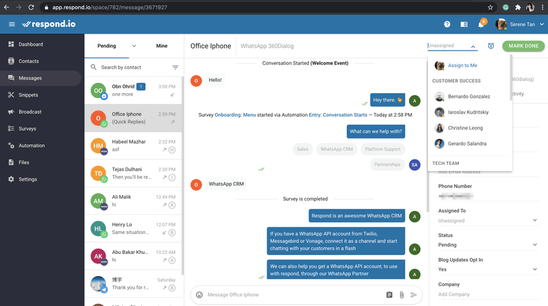 With respond.io, agents can either pick contacts or have a contact automatically assigned to them.