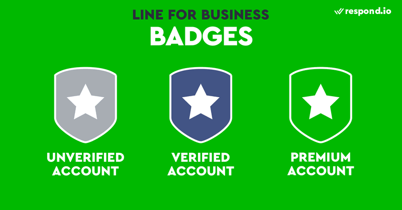 There are three types of LINE Official Account badges or LINE for Business badges. They are premium accounts, verified accounts and unverified accounts. Premium accounts come in a green badge, verified accounts come in a blue badge and unverified accounts have a grey badge.