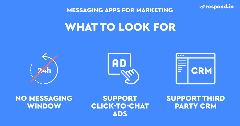 This is an image about What to Look For In An Instant Messaging App For Marketing. The big factors to consider are click-to-chat ads, messaging window and 3rd CRM support