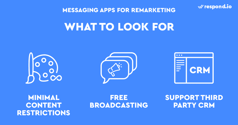 This is an image about how to choose the best instant message app. Look for one with minimal Content restriction, low Broadcasting fee and ability to third-party CRM