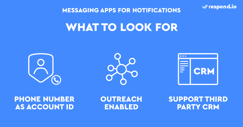 This is a picture on how to choose the best messenger app for Notifications. Go for one that use phone number as account ID, outreach enabled and support 3rd party CRM