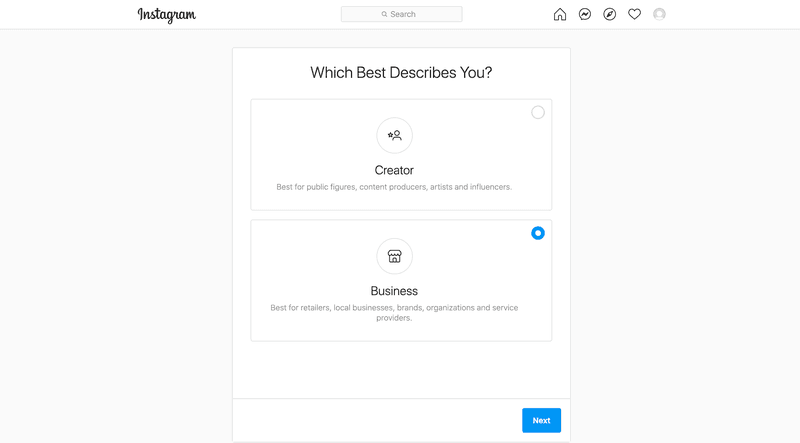 Select Business account when you switch from a personal account from Instagram settings page.
