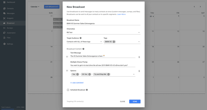 There is no way to send a Dialogflow Broadcast from the Dialogflow console, but you can send a broadcast to your Dialogflow users from Rocketbots.