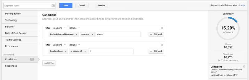 This image shows how your segment out the direct traffic that is landing on your home page on Google Analytics.