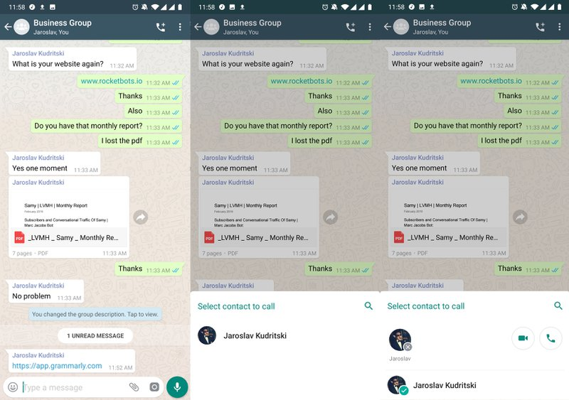 This is an image showing how you start WhatsApp Group Call or a WhatsApp Group Video Call