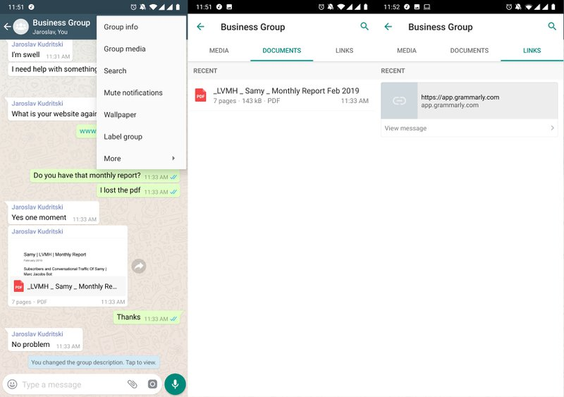 This is a picture showing to search to media, documents or links in a WhatsApp Group