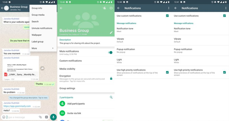 This is a picture showing the process of creating a custom notification in a WhatsApp Group