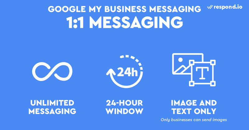 GMB 1:1 Messaging allows unlimited messaging but they are limited to just images and text. Businesses also have to reply within a 24 hour window or else Google may disable their messaging function.