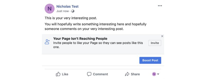 Example of Facebook Post. To use features like Facebook comments plugin or Facebook comment autoresponder, a post is needed when using specific targeting.