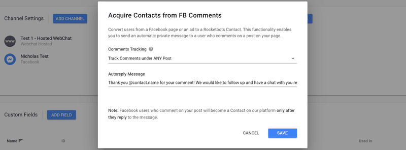 Rocketbots' version of Facebook comments plugin allows one preset message to be sent in the Facebook Post Autoresponder when using ANY