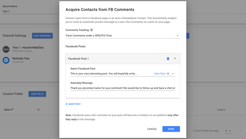 Rocketbots' version of Facebook comments plugin multiple preset-post linked messages in the Facebook Comment Autoresponder when using SPECIFIC