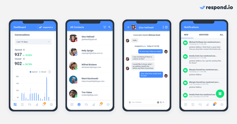 This is a picture about respond.io's mobile app. the respond.io mobile app helps you stay connected to your customers when on the go - you'll never miss a Conversation again. Plus, you'll get notified every time you receive a new message or when someone assigns you a new Contact.