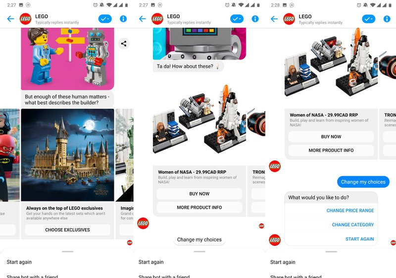 This image shows the questions asked in a lego messenger marketing campaign to be able to recommend a gift.