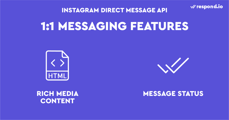 Instagram Direct Message API: Instagram messaging features include rich media content and allowing users to read message status.