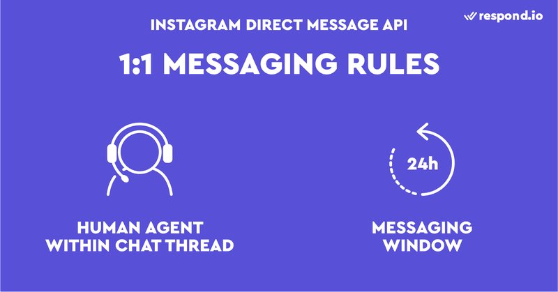 nstagram Direct Message API requirements for 1:1 chats. It requires an escalation path to a human agent within the chat thread and it has a 24 hours messaging window.