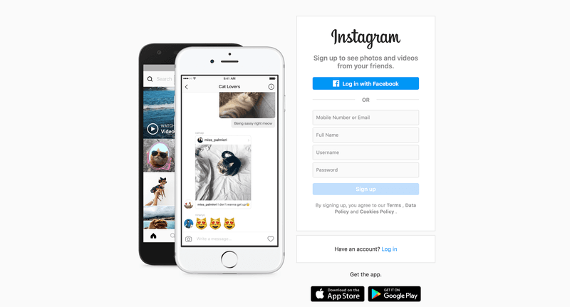 Instagram sign up page on desktop