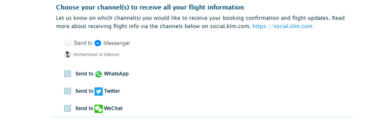 You can select WhatsApp, Twitter or WeChat for KLM booking notifications.